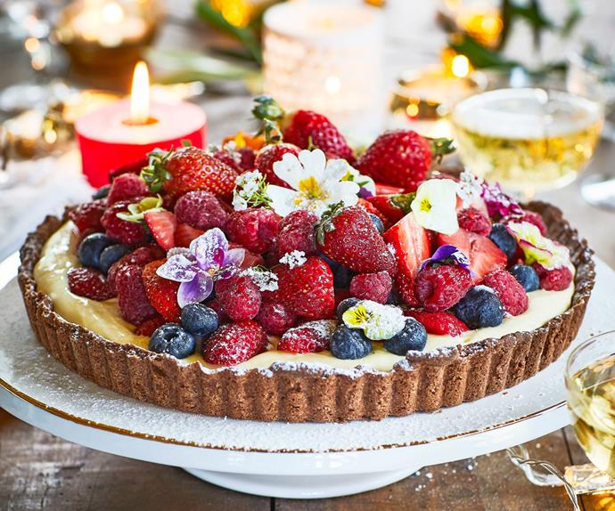 Chocolate summer berry tart