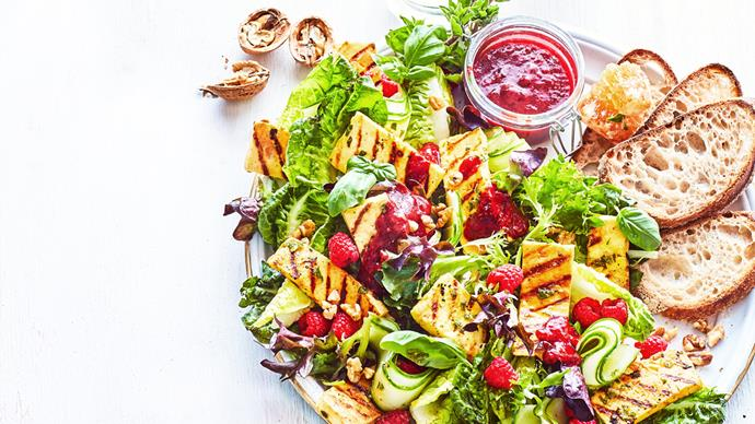 Raspberry and honey-baked haloumi salad