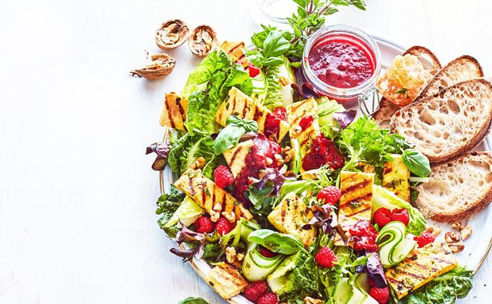 Raspberry and honey-baked haloumi salad