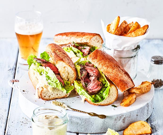 Peppered steak sandwich with crunchy cos