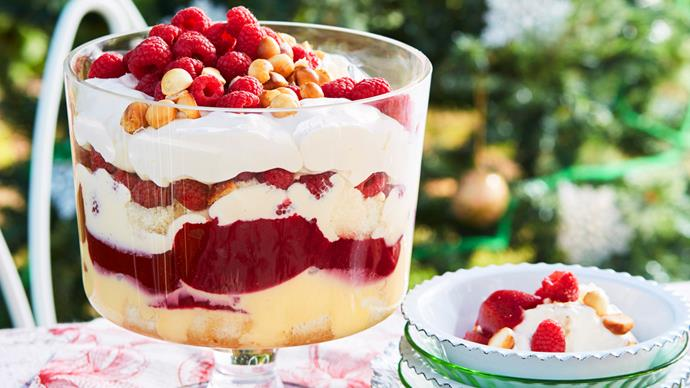 Raspberry and sabayon trifle with macadamias