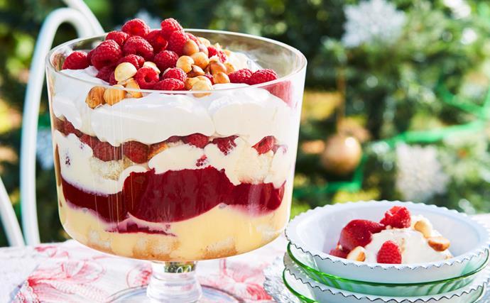 Raspberry and sabayon trifle with macadamias