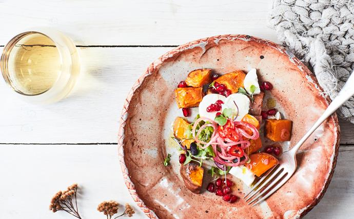 Kūmara, pomegranate & goat's cheese salad with maple & chilli