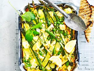 Asparagus and fetta frittata