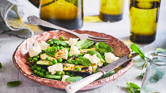 Courgette, pea and buffalo cheese salad