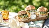 Chicken burgers with fennel and herb slaw