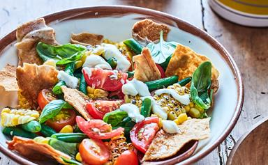 Mexican char-grilled corn salad with coriander dressing