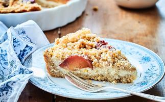 Italian plum ricotta tart