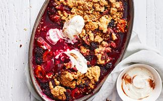 Plum and blackberry crumble with spiced yoghurt