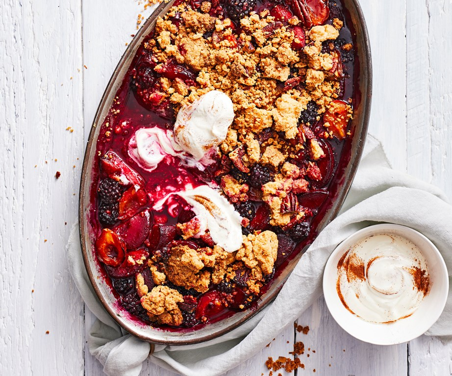 "[Plum and blackberry crumble with spiced yoghurt](https://www.foodtolove.co.nz/recipes/plum-and-blackberry-crumble-recipe-34905|target=""_blank"")"