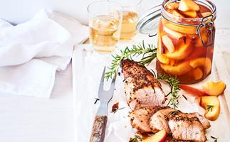 Sticky roasted pork loin with pickled peaches