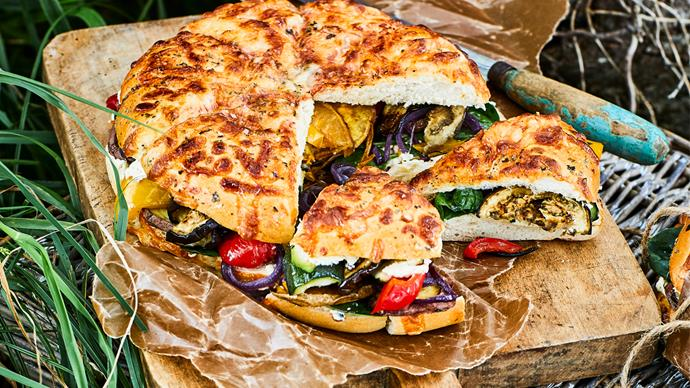 Roasted vege and feta sandwiches