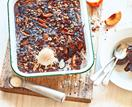 Fudgy chocolate, hazelnut and peach pudding
