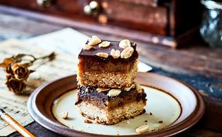 Vegan chocolate, peanut and caramel slice