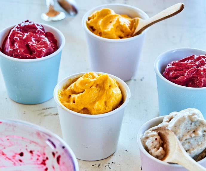cups of fruit sorbet