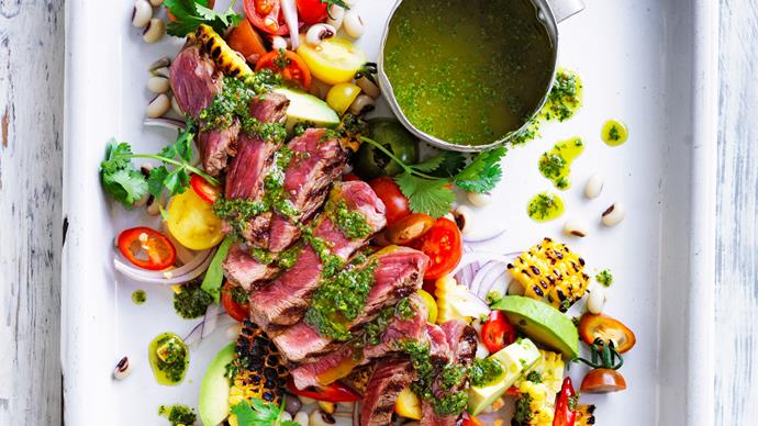 warm beef salad with black-eyed peas, corn and chimichurri