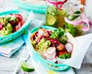 Vegan Mexican slaw with tempeh and guacamole