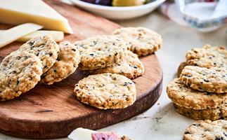 Olive and rosemary cheese biscuits on chopping board