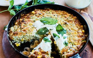 Cheesy courgette and corn skillet bake