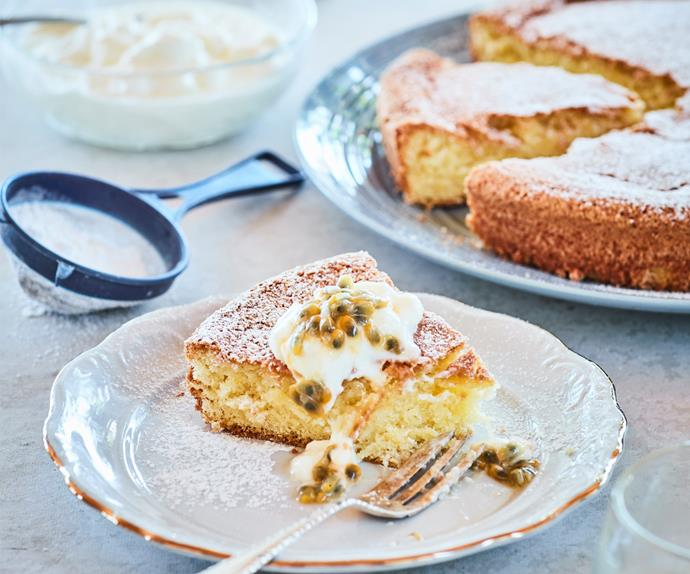 Easy vanilla cake with passionfruit pulp and yoghurt