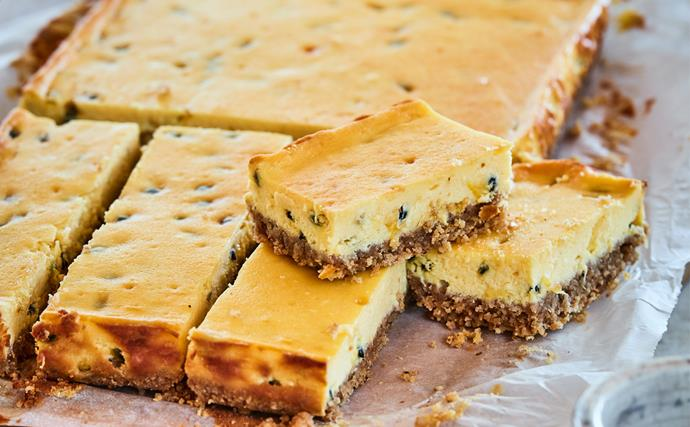 Passionfruit cheesecake slice with a gingernut and oat base