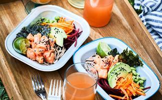 Marinated salmon poke bowl with soba noodles