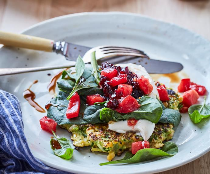 Broccoli and herb fritters with beetroot relish