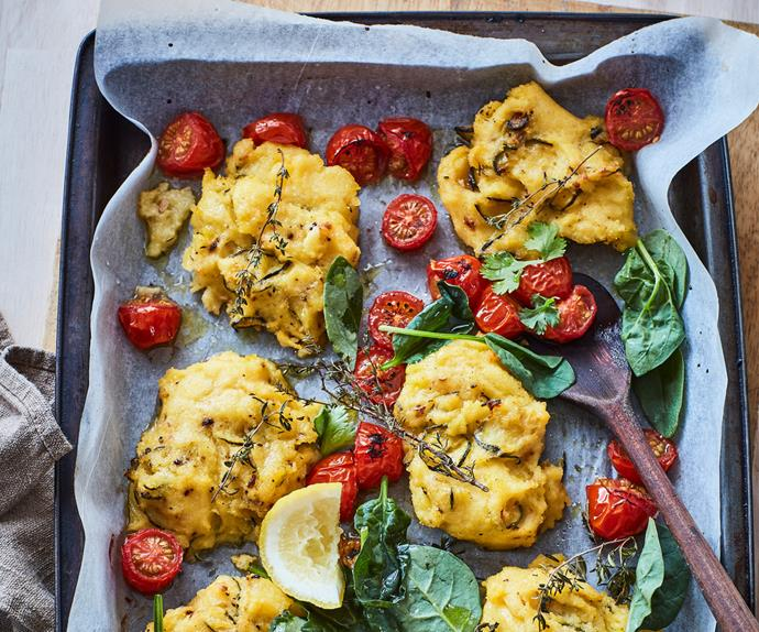 Courgette, polenta and parmesan cakes