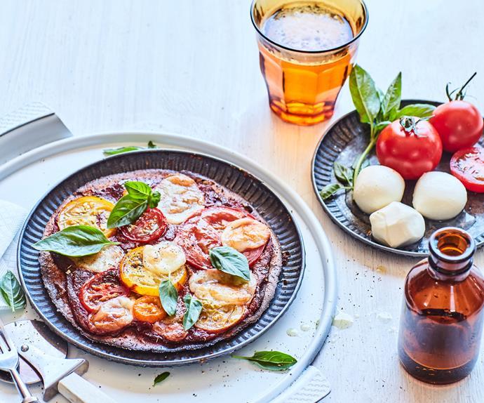 Margherita pizzas with gluten-free kūmara bases