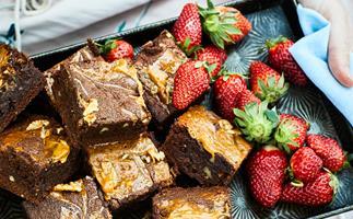 Chocolate, caramel and walnut brownie