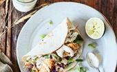 Fish tacos with a crunchy hemp crumb