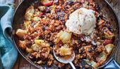 Skillet apple bread pudding for two