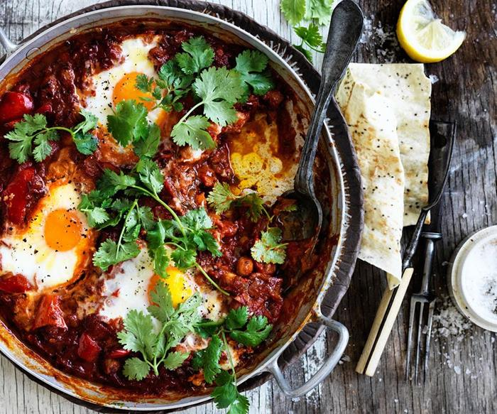 baked chickpea and egg shashuka