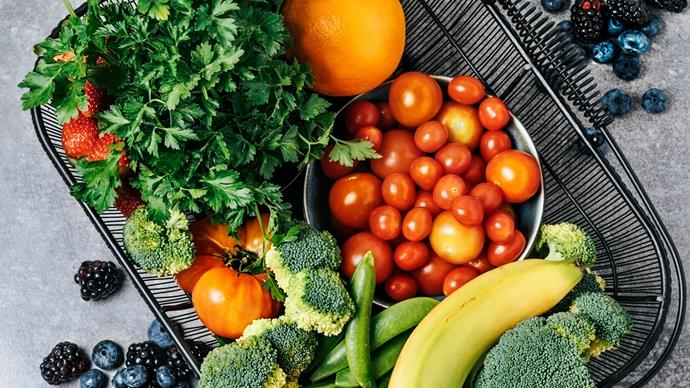 fruit and vegetables in basket