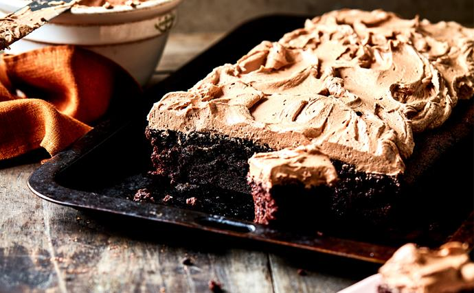 Fudgy dark chocolate sheet cake with milk chocolate mousse frosting