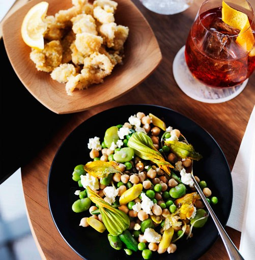 **Chickpea, broad bean, zucchini flower, preserved lemon and ricotta salad**