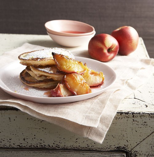 **Buttermilk pancakes with glazed white nectarines** **Buttermilk pancakes with glazed white nectarines**    [View Recipe](http://gourmettraveller.com.au/buttermilk_pancakes_with_glazed_white_nectarines.htm)     PHOTOGRAPH **CHRIS CHEN**