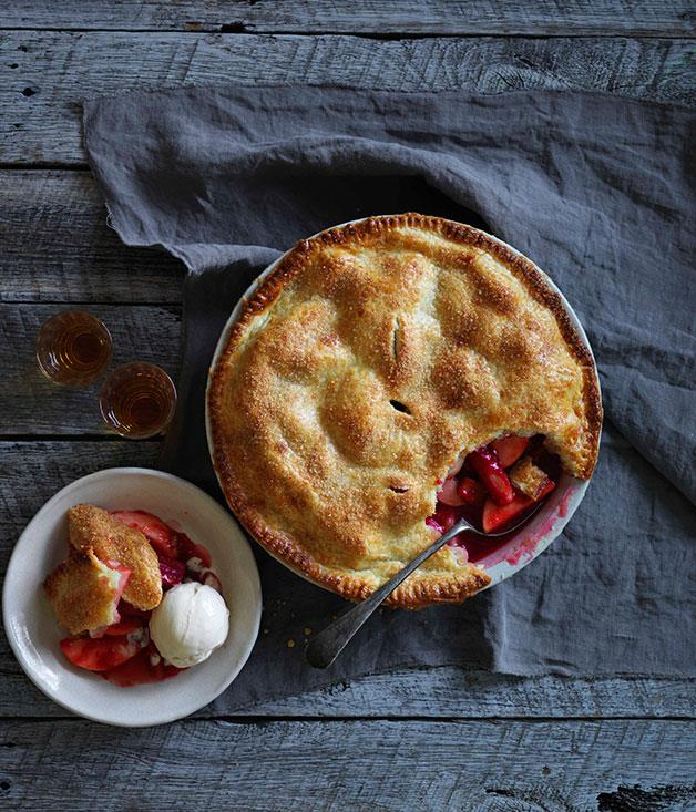 """**[Apple, rhubarb and raspberry pie with toasted almond ice-cream](https://www.gourmettraveller.com.au/recipes/browse-all/apple-rhubarb-and-raspberry-pie-with-toasted-almond-ice-cream-14324