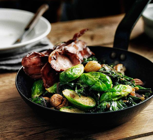 Sautéed Brussels sprouts with curly kale, bacon and chestnuts