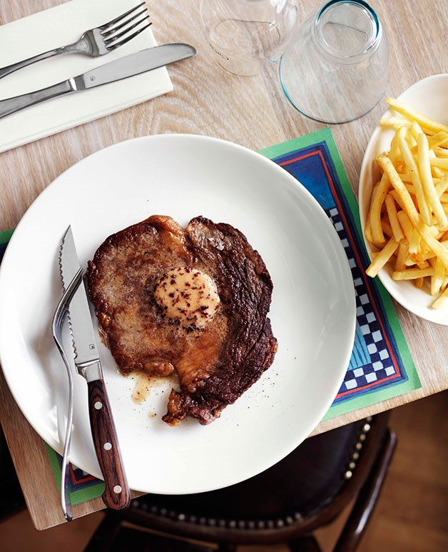 Minute steaks with red wine butter
