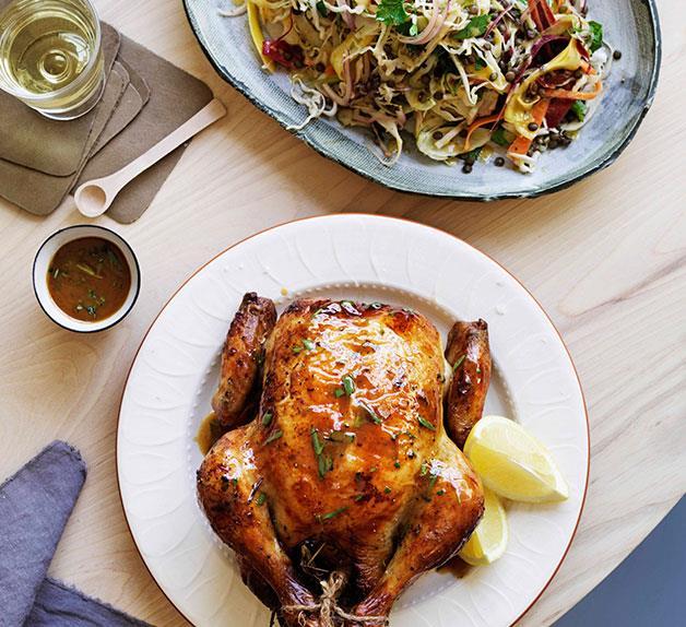 Citrus-brined Roast Chicken
