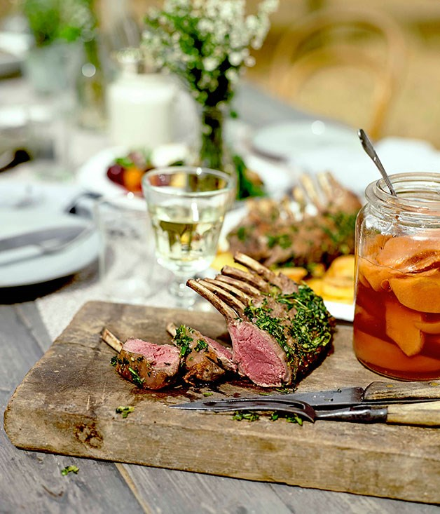 **Malone lamb racks with potatoes and quince in cider vinegar**