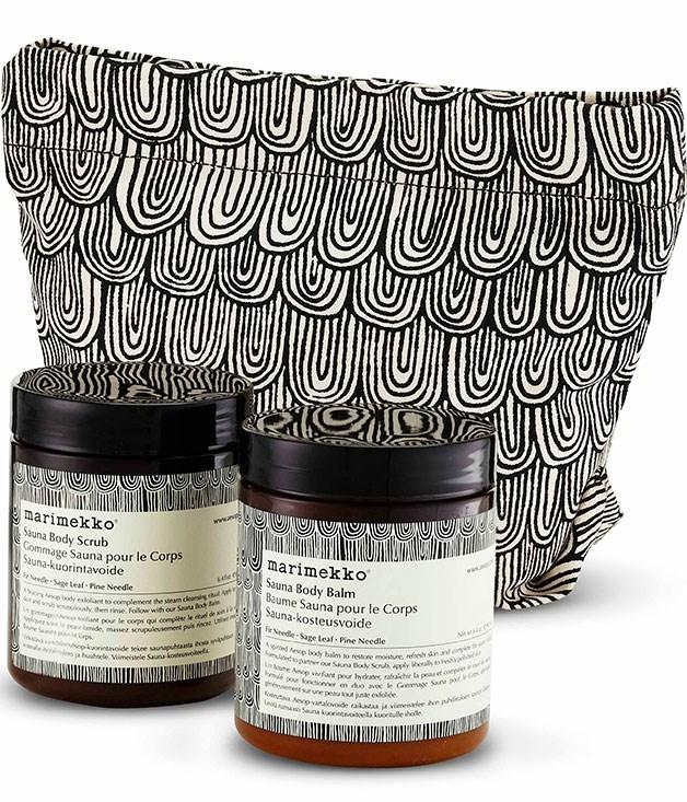 **** **Design duo**   Aesop-Marimekko Sauna Duet, $80.