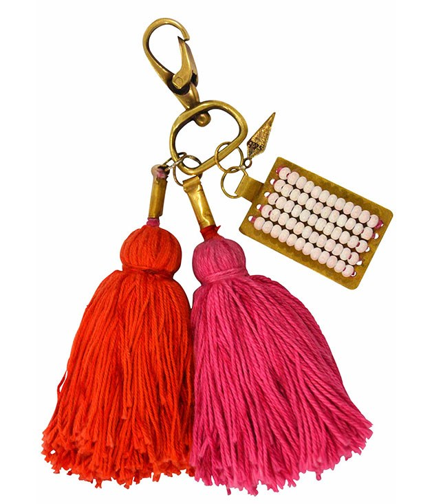 **** Sass & Bide's Hello Goodbye key ring, $60.