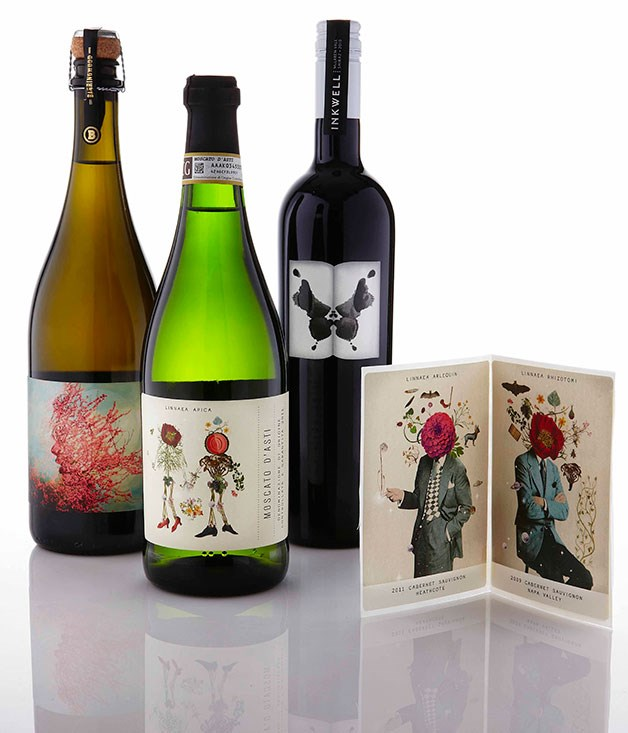 **** **Mark makers**   Mash wine label designs for (from left) Barringwood, Linnaea and Inkwell.