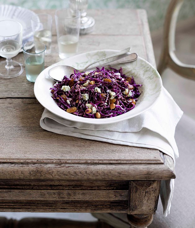 "[**Red cabbage and hazelnut salad**](https://www.gourmettraveller.com.au/recipes/chefs-recipes/red-cabbage-and-hazelnut-salad-8986|target=""_blank"") <br><br> With its distinct purple and gold-coloured ingredients, this salad is fit for royalty."