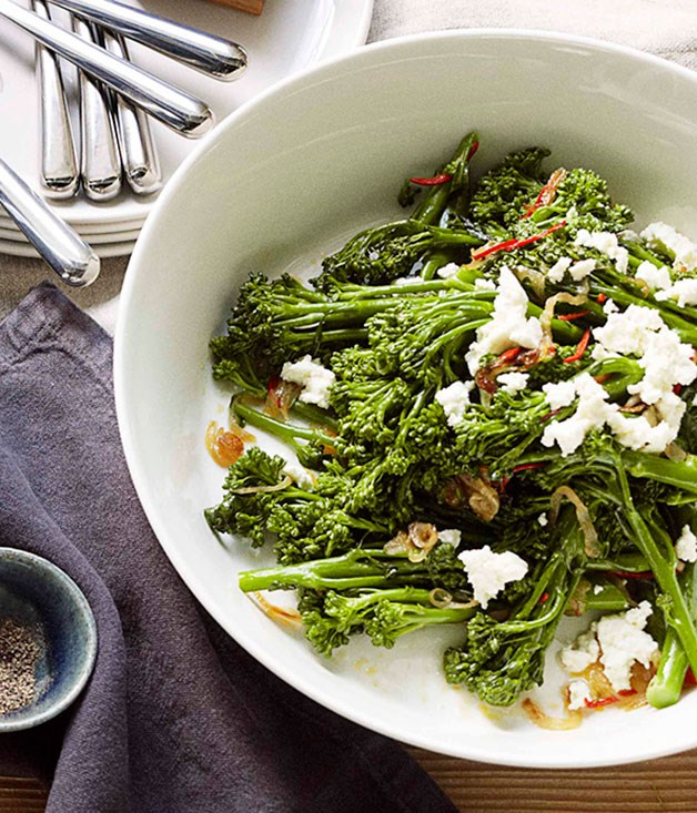 **Broccolini with chilli, lemon and ricotta**