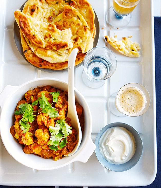 "**[Cauliflower curry with tomato and coriander](http://www.gourmettraveller.com.au/recipes/fast-recipes/cauliflower-curry-with-tomato-and-coriander-13308|target=""_blank"")**"