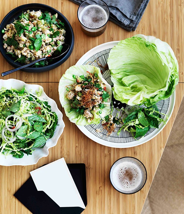 **Prawn and pork larb with fragrant Savoy cabbage salad**