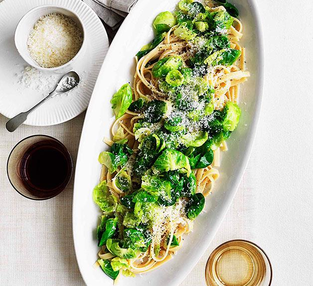 Fettuccine with Brussels sprouts, pecorino and garlic